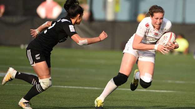 England women's sevens in action against New Zealand