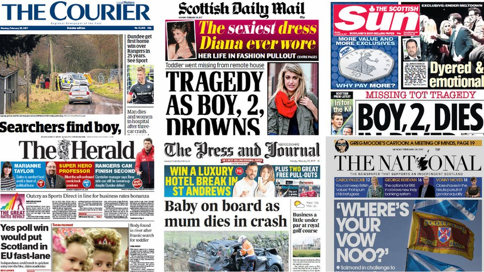 Scotland's papers: River tragedy and cancer 'survival gap'