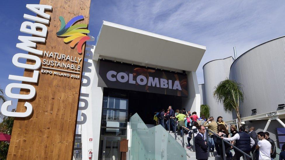 Stand de Colombia en feria de turismo en Italia.