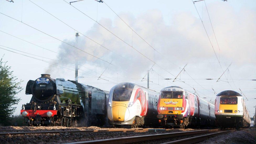 Rail Royalty Flying Scotsman Meets Modern Era Trains
