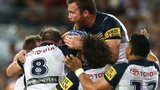 Johnathan Thurston buried by teammates after his drop goal winner