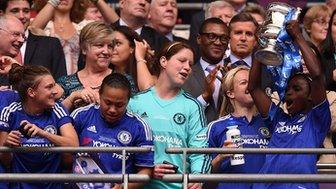 Chelsea's Eniola Aluko lifts the Women's FA Cup