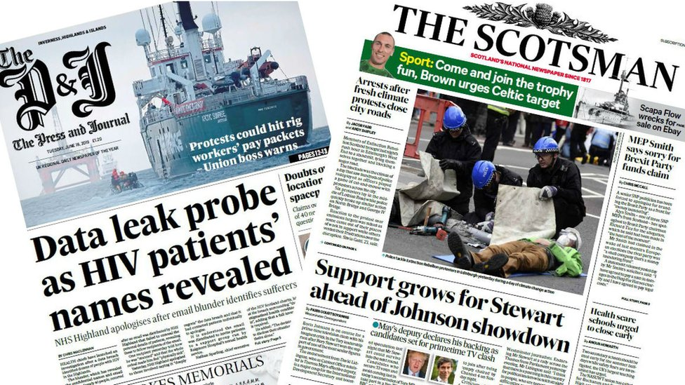 Scotland's papers: Protest 'shut down' and HIV data leaked