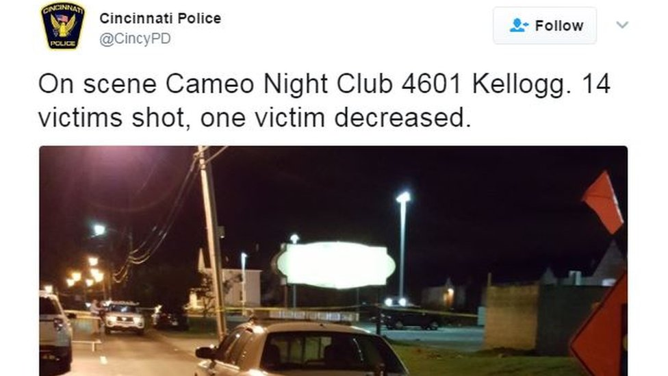 Tiroteo en club nocturno de Cincinnati, deja un muerto y 14 heridos