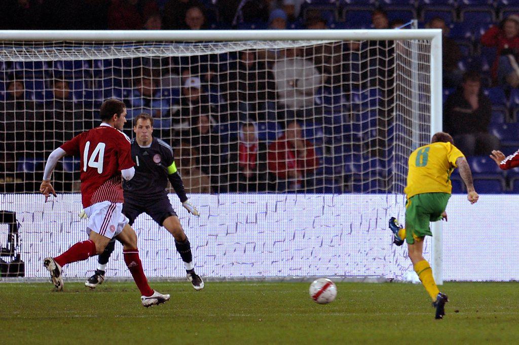 Craig Bellamy scores two memorable goals for Wales against Denmark