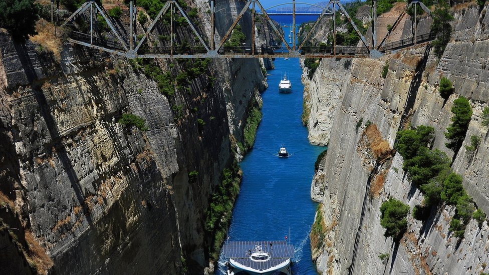 Ships pass through the Corinth canal