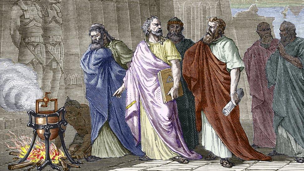 Herón mostrándole su invento a otros sabios de la época.