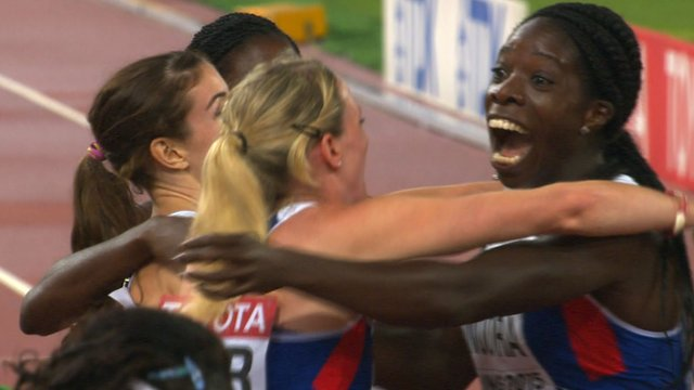 The British quartet celebrate claiming 4x400m bronze at the World Championships