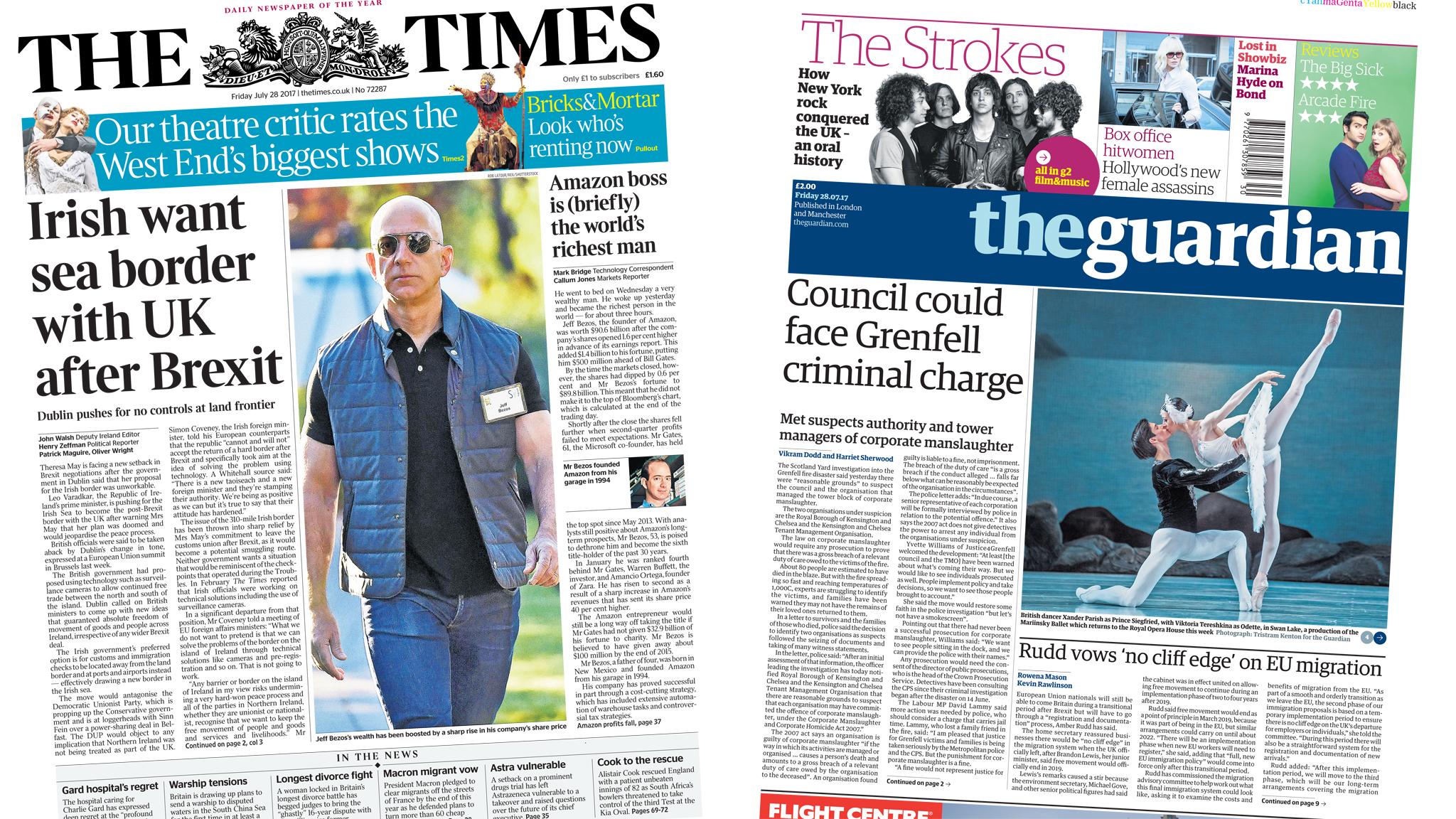 Newspaper headlines: Irish border 'setback' and Grenfell manslaughter probe