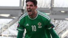 Kyle Lafferty celebrates scoring against Finland