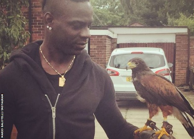 Mario Balotelli poses with a hawk