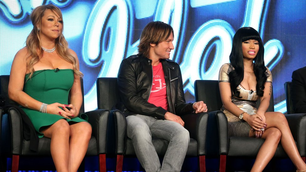 Mariah Carey, Keith Urban y Nicki Minaj en American Idol.