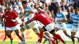 Pablo Matera of Argentina makes a break during the 2015 Rugby World Cup Pool C match between Argentina and Tonga at Leicester City Stadium