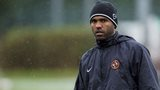 Florent Sinama Pongolle trains with Dundee United