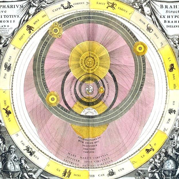 """Brahe creía en el """"geoheliocentrismo"""" según el cual el Sol y la Luna giran alrededor de la Tierra, mientras que Marte, Mercurio, Venus, Júpiter y Saturno giran alrededor del Sol."""