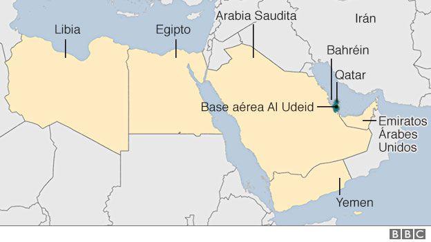 Mapa de Qatar y sus vecinos