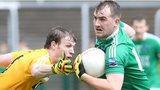 Antrim's Justin Crozier challenges Sean Quigley