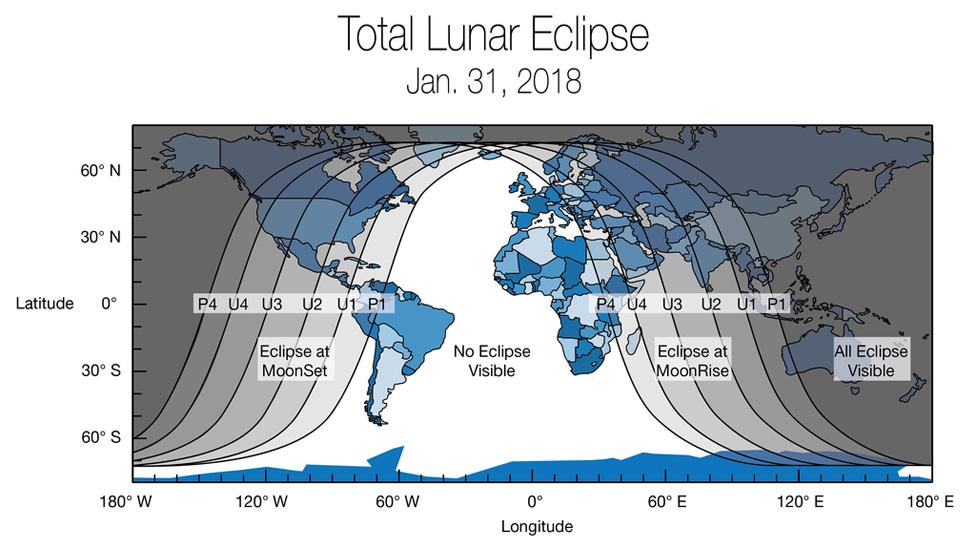 Mapa de la Tierra mostrando donde podrá verse el eclipse lunar del 31 de enero de 2018. (Imagen: NASA)