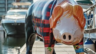 BBC News - Ed Sheeran bought pig statue of himself at auction