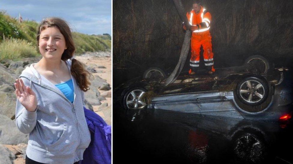 Girl, 14, dies after car overturns near Ellon