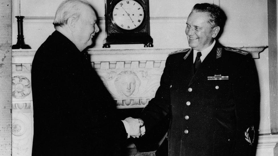 President Josip Broz Tito of Yugoslavia (right) shaking hands with British Prime Minister Winston Churchill, 1953