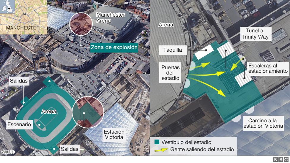 mapa ataque Manchester