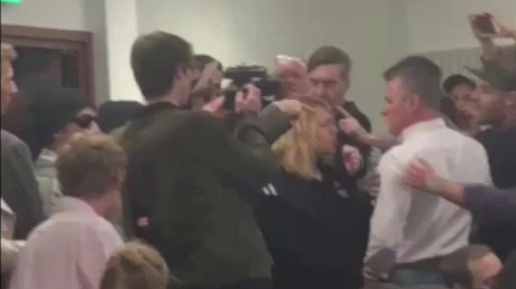 MP Jacob Rees-Mogg caught up in student scuffle