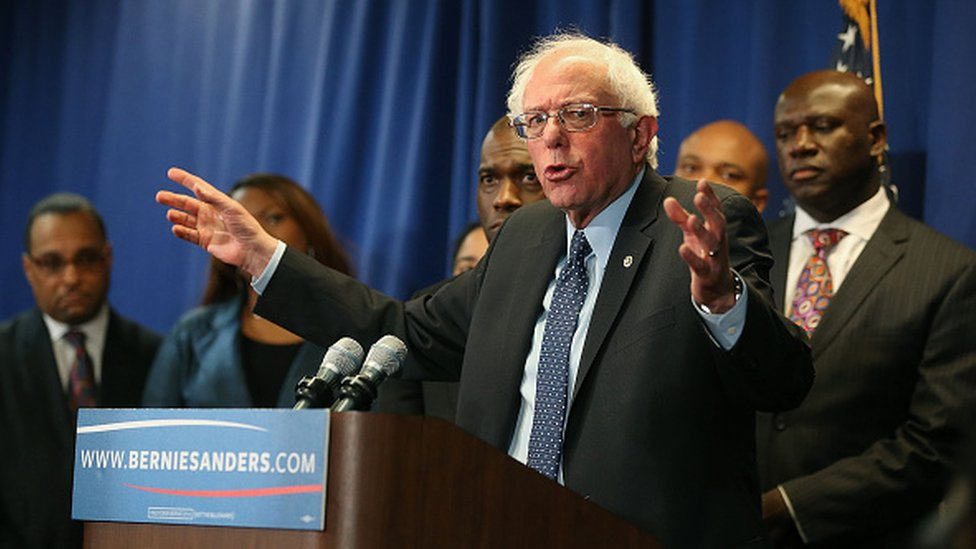 Bernie Sanders with African American supporters