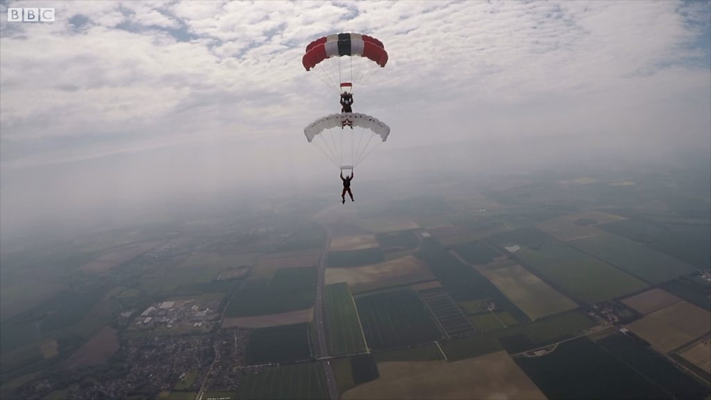 Parachute Regiment 'Red Devils' jump from 4,000ft above Duxford