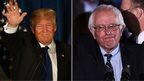 Donald Trump and Bernie Sanders in a composite image