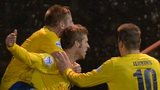 Darren Henderson is congratulated after scoring one of Ballymena's goals at Inver Park
