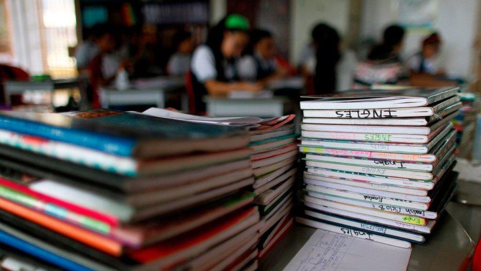Cuadernos de estudiantes.