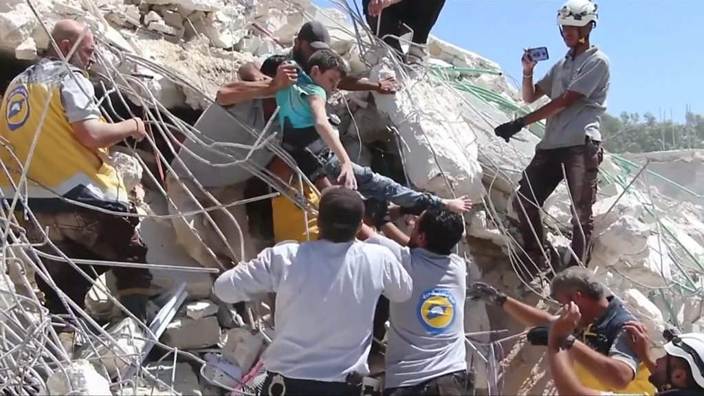 Children pulled from rubble after deadly Syria blast