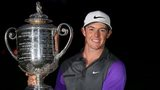 Rory McIlroy with the Wanamaker trophy after his second US PGA Championship triumph last August