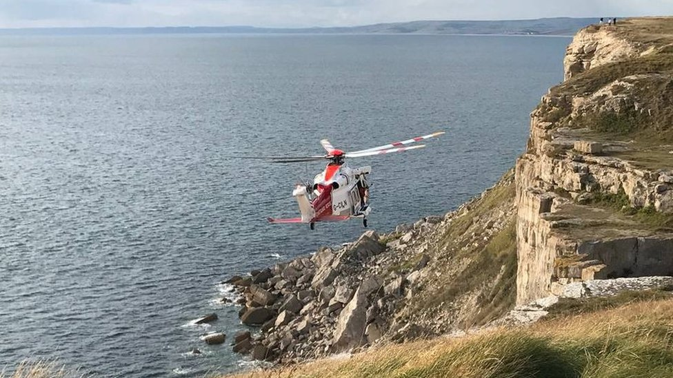 Rock climber injured in Jurassic Coast cliff fall