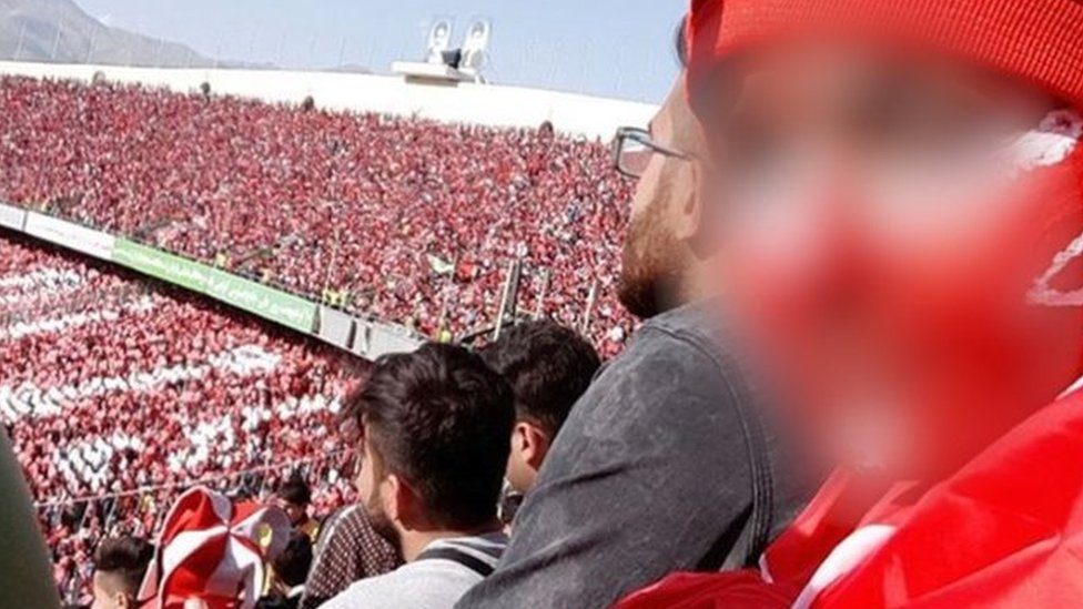 Iranian woman in Tehran football stadium