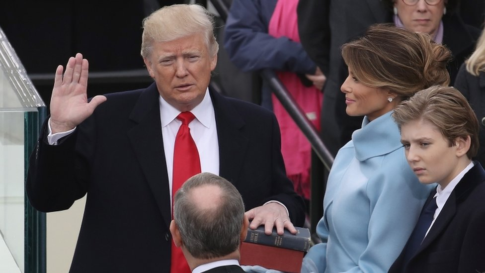 Pelantikan Donald Trump sebagai presiden AS di Washington, 20 Januari 2017.