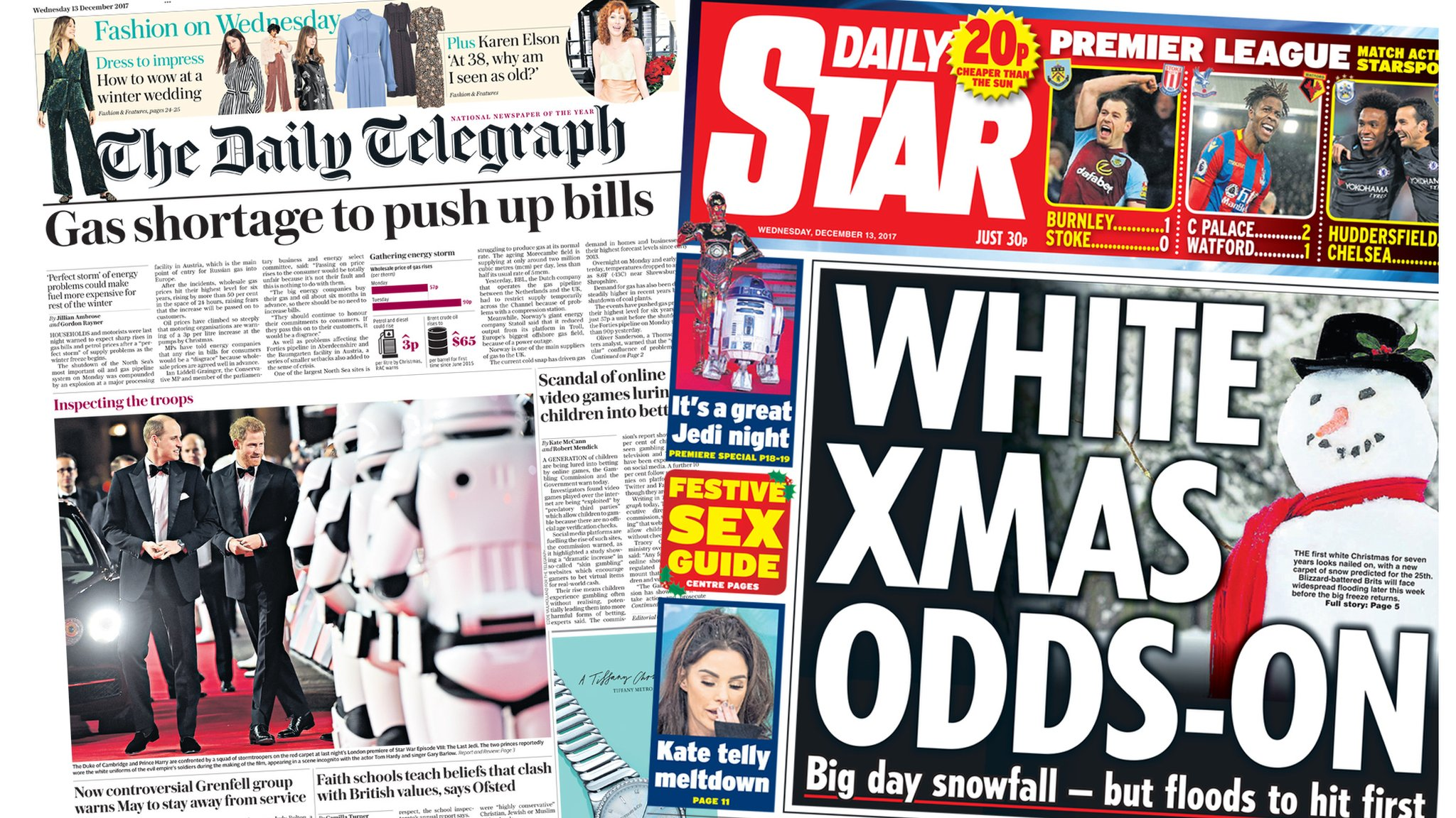 Newspaper headlines: Tories 'go green' and a 'white' Christmas