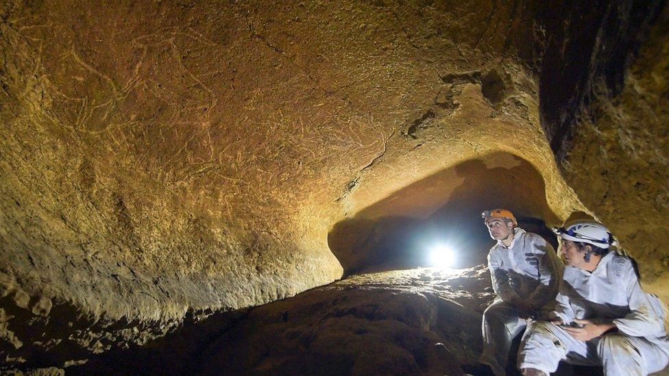 Arqueólogos en la cueva