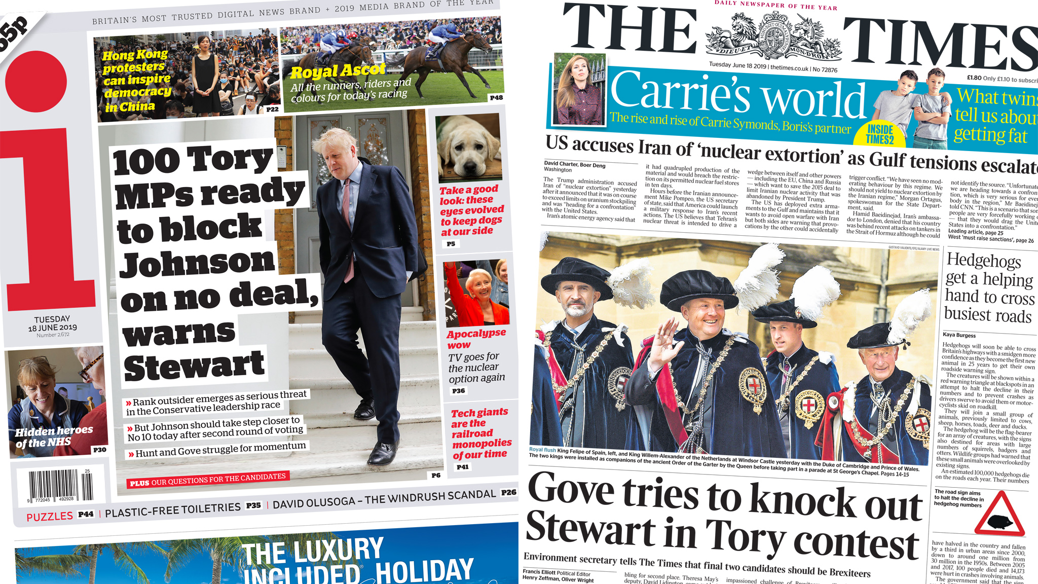 Newspaper headlines: Rory Stewart's PM bid on front pages