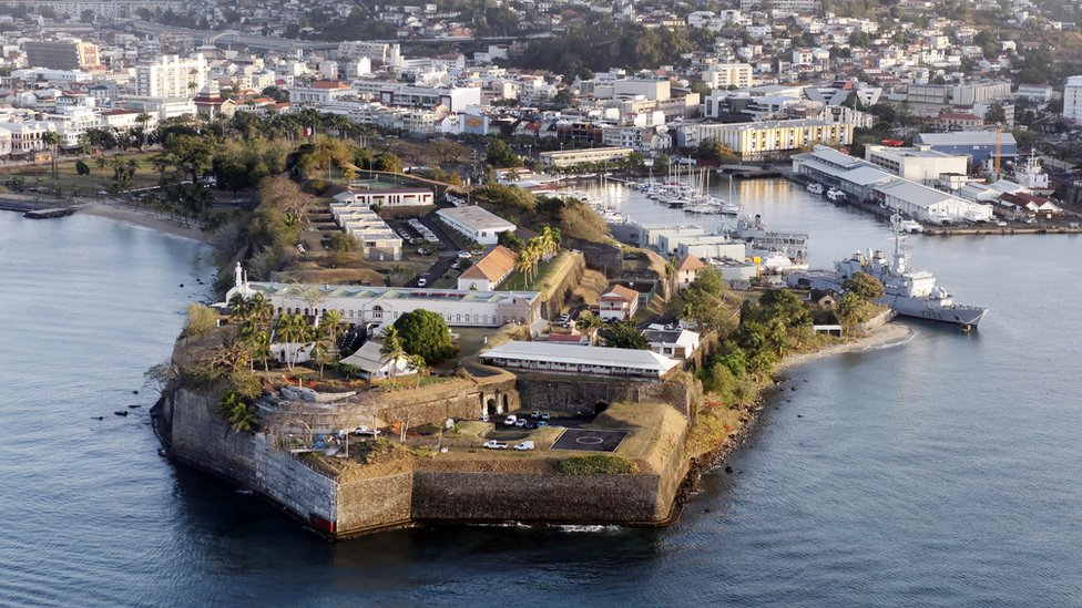 Aerial view of the city of Fort-de-France in Martinique