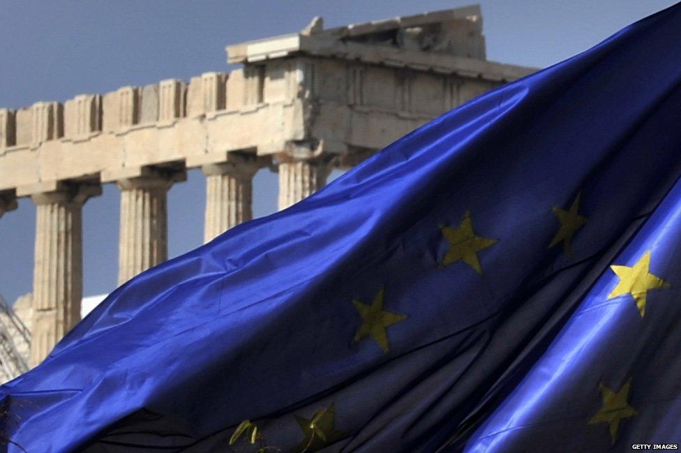 Acropolis and EU flag