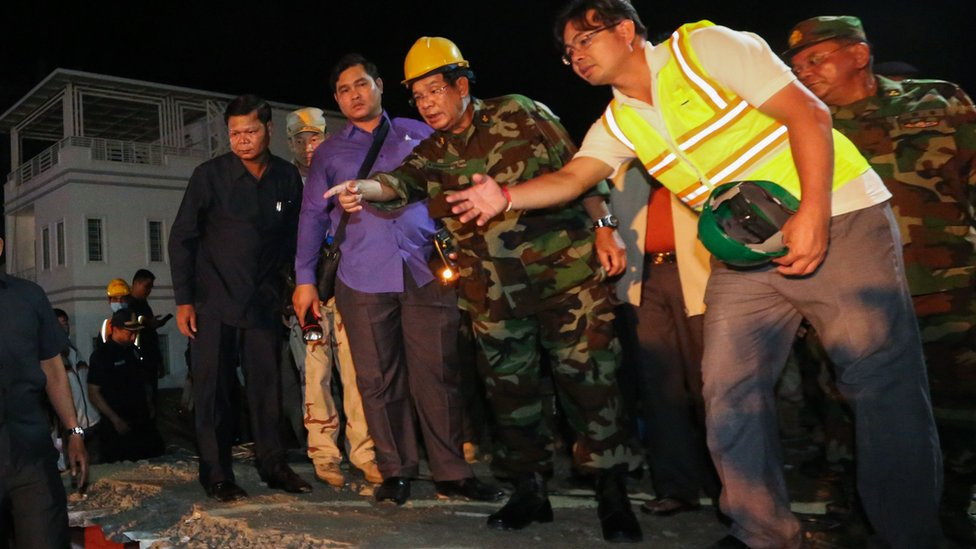 Cambodia PM Hun Sen visits deadly building collapse site