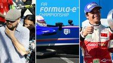 (left to right) Leonardo DiCaprio, Formula E car and Nelson Piquet Jr