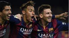 Barcelona forwards Luis Suarez (left), Neymar and Lionel Messi (right)