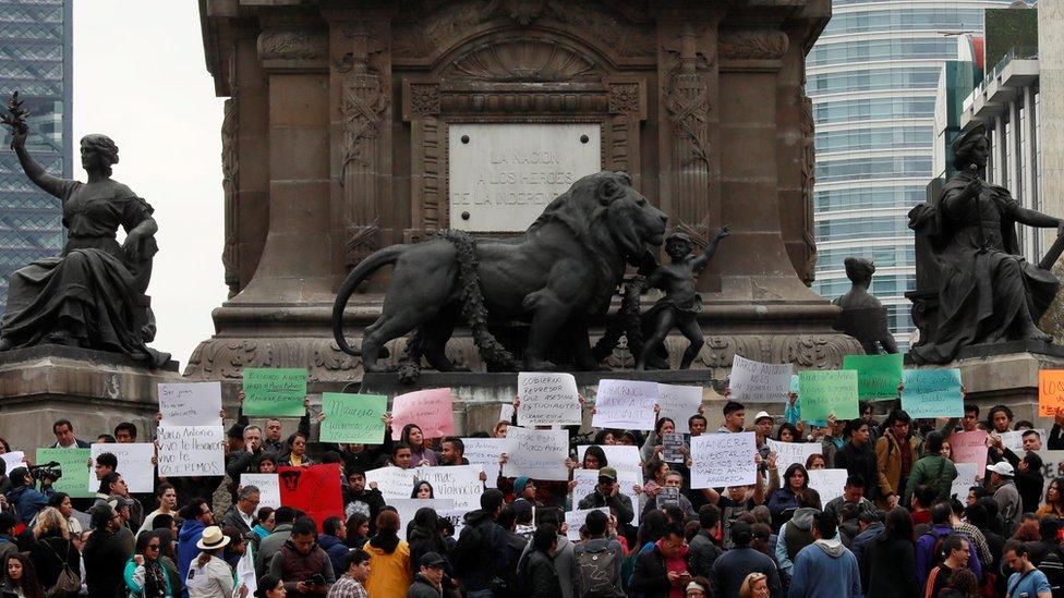 Una protesta por la desaparición de Marco Antonio Sánchez
