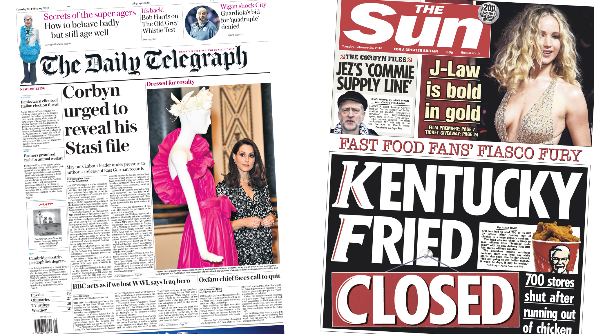 The Papers: Corbyn's Cold War files and chaos in KFC