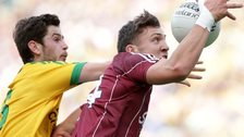 Donegal's Ryan McHugh battles with Galway's Damien Comer at Croke Park