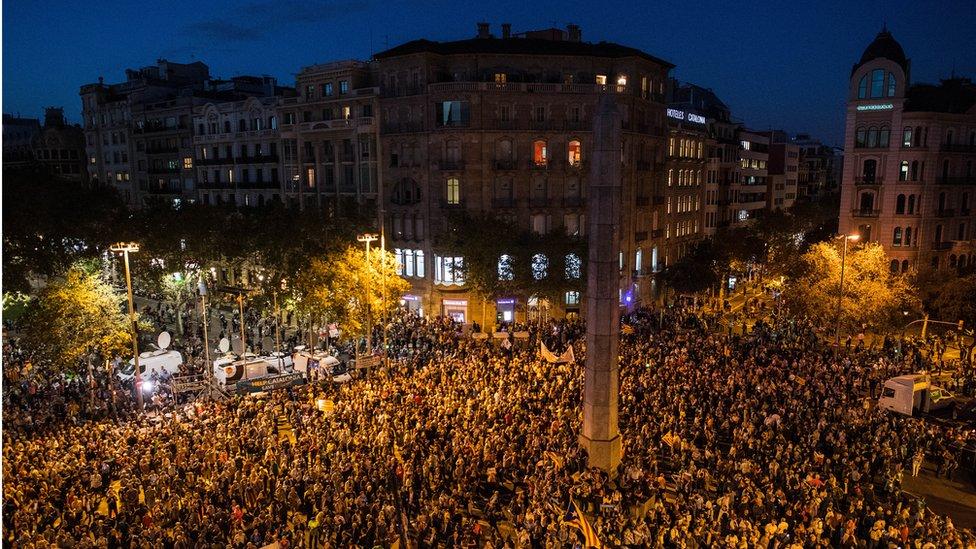 Manifestantes en Barcelona.