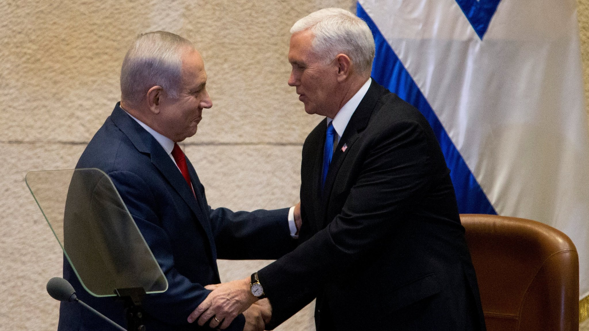 Mr Pence in a shake with Netanyahu